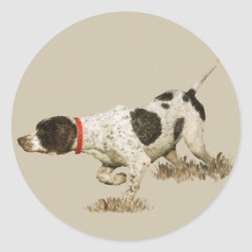 English Pointer Round Sticker