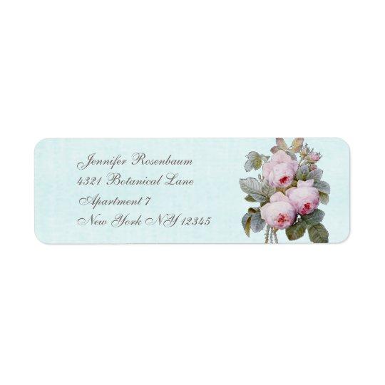 English Rose Bouquet Vintage Botanical Custom Return Address Label