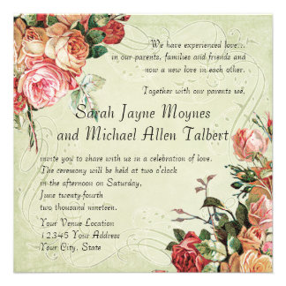 English Rose Bouquet, Vintage n Modern Swirl Leaf Announcement