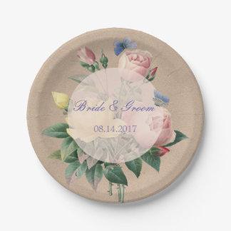 English Rose Butterfly Garden Wedding Paper Plate