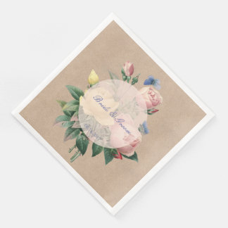 English Rose Garden Butterfly Wedding Paper Napkin