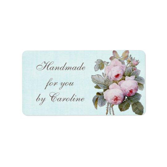 English Rose Vintage Botanical Custom Label