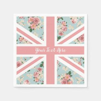 English Roses Union Jack Flag Disposable Serviettes