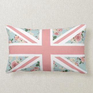 English Roses Union Jack Flag Lumbar Pillow