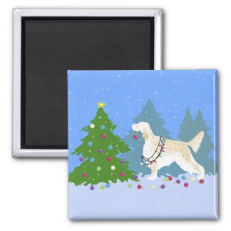 English Setter Decorating Tree in the Forest Magnet