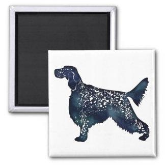 English Setter Dog Black Watercolor Silhouette Magnet