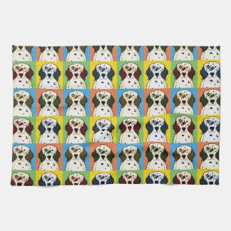 English Setter Dog Cartoon Pop-Art Tea Towel