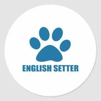 ENGLISH SETTER DOG DESIGNS CLASSIC ROUND STICKER