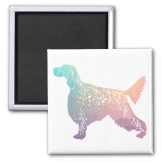 English Setter Dog Geometric Silhouette - Pastel Magnet