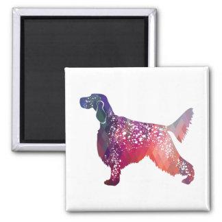 English Setter Dog Geometric Silhouette - Pink Magnet