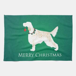 English Setter Merry Christmas Design Tea Towel