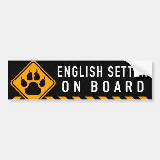 English Setter On Board Bumper Sticker