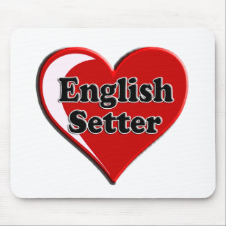 English Setter on Heart for dog lovers Mousepads