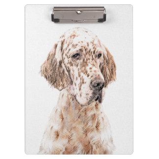 English Setter Orange Belton Painting Dog Art Clipboard