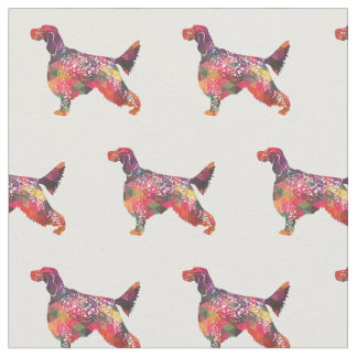 English Setter Silhouette Tiled Fabric - Multi