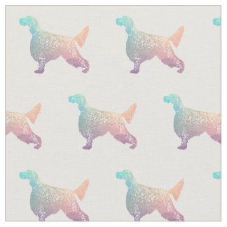English Setter Silhouette Tiled Fabric - Pastel