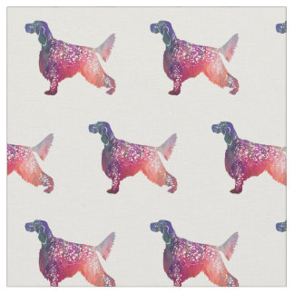 English Setter Silhouette Tiled Fabric - Pink