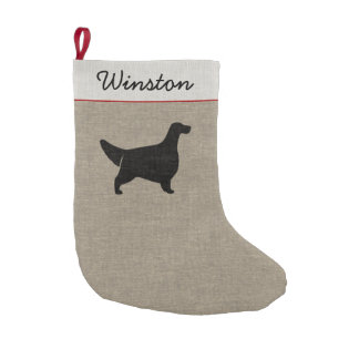 English Setter Silhouette with Custom Text Small Christmas Stocking