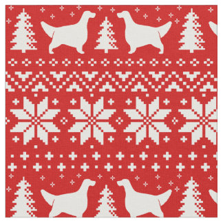 English Setter Silhouettes Christmas Pattern Red Fabric