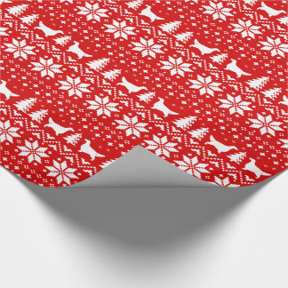 English Setters Christmas Sweater Pattern Red Wrapping Paper