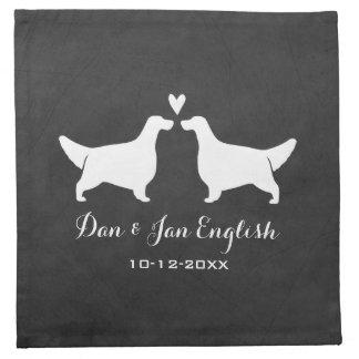 English Setters Wedding with Custom Text Printed Napkins