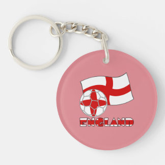 English Soccer Ball and Flag Double-Sided Round Acrylic Key Ring