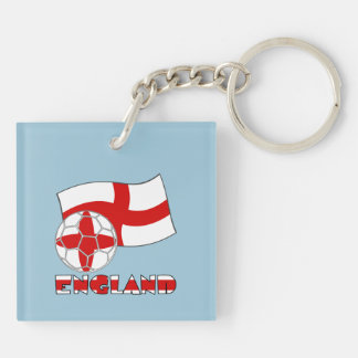 English Soccer Ball and Flag Double-Sided Square Acrylic Key Ring
