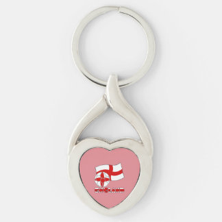 English Soccer Ball and Flag Silver-Colored Twisted Heart Key Ring