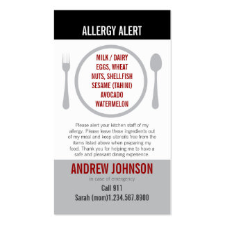 English/Spanish Bilingual Allergy Alert Card Pack Of Standard Business Cards