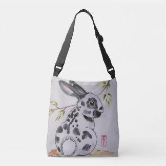 English Spot Rabbit Black and White Shopping Tote