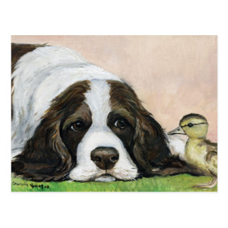 English Springer Spaniel and Duckling Art Postcard