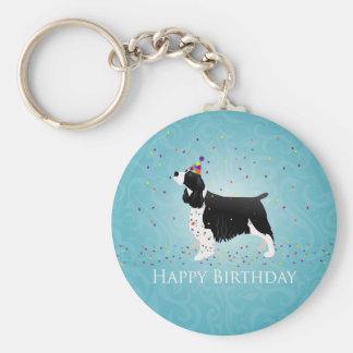 English Springer Spaniel Birthday Design. Basic Round Button Key Ring