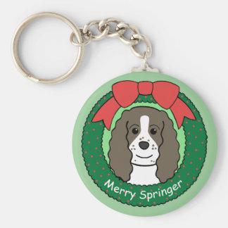English Springer Spaniel Christmas Basic Round Button Key Ring