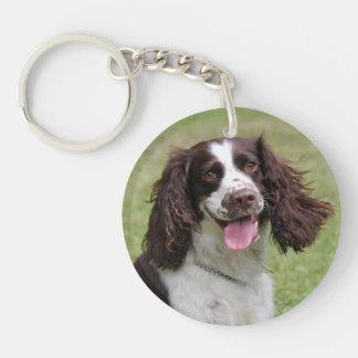 English Springer Spaniel dog beautiful photo, gift Double-Sided Round Acrylic Key Ring