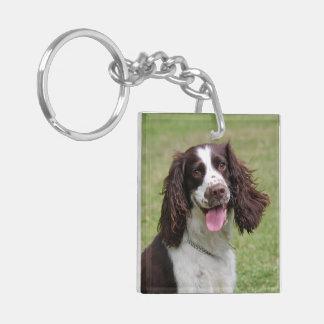 English Springer Spaniel dog beautiful photo, gift Double-Sided Square Acrylic Key Ring