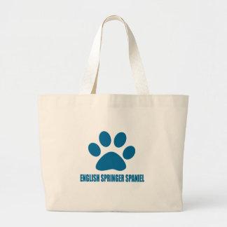 ENGLISH SPRINGER SPANIEL DOG DESIGNS LARGE TOTE BAG