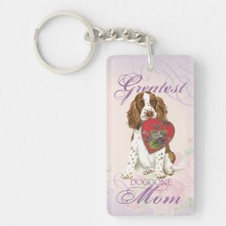 English Springer Spaniel Heart Mom Double-Sided Rectangular Acrylic Key Ring