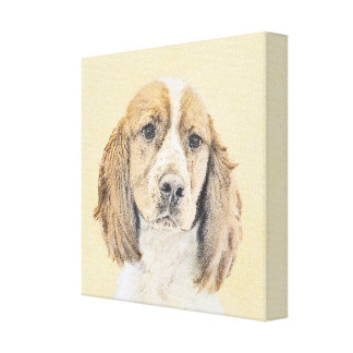 English Springer Spaniel Painting Original Dog Art Canvas Print