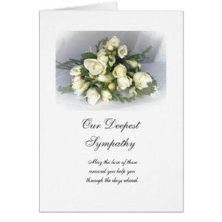 English: Sympathy white freesias & roses Card