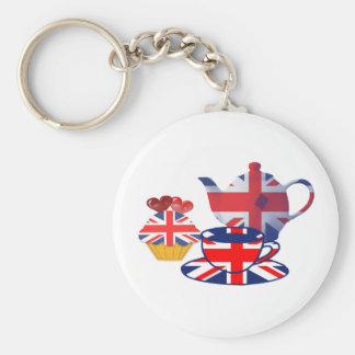 English Tea-time, Union Jack Art Gifts Keychain