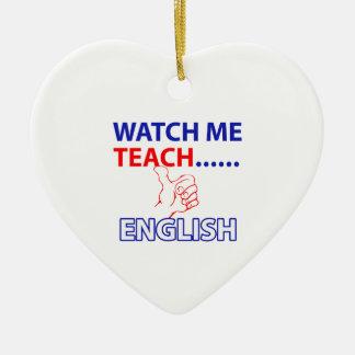 ENGLISH Teach Ceramic Heart Decoration