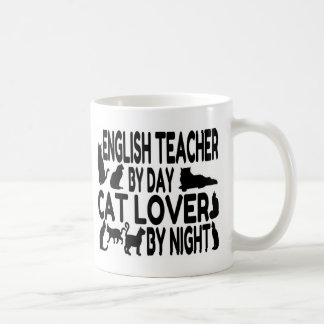 English Teacher Cat Lover Basic White Mug
