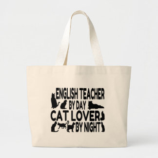 English Teacher Cat Lover Large Tote Bag