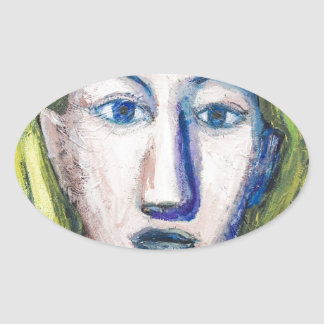 English Teacher (portrait expressionism) Oval Sticker