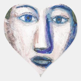 English Teacher (portrait expressionism) Heart Stickers