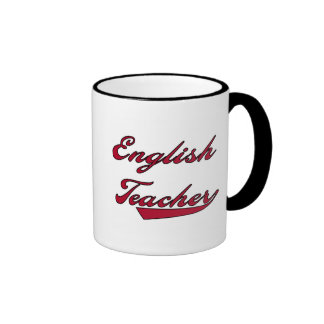 English Teacher Red Text Tshirts and Gifts Coffee Mugs