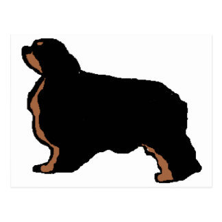 english toy spaniel black and tan silo postcard