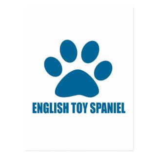ENGLISH TOY SPANIEL DOG DESIGNS POSTCARD
