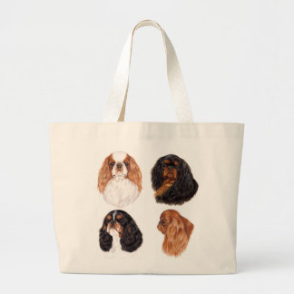 English Toy spaniel ( king charles) all 4 colours Large Tote Bag