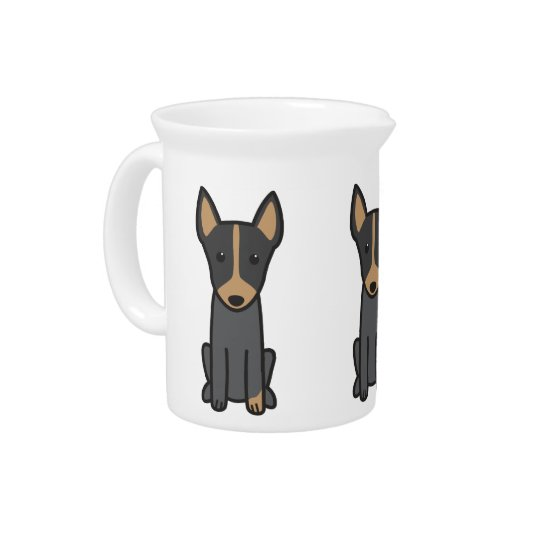 English Toy Terrier Dog Cartoon Beverage Pitcher